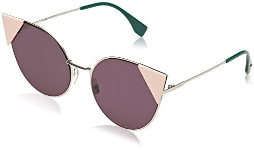Fendi ff 0190/s om 010, occhiali da sole donna, argento (palladium/violet), 57
