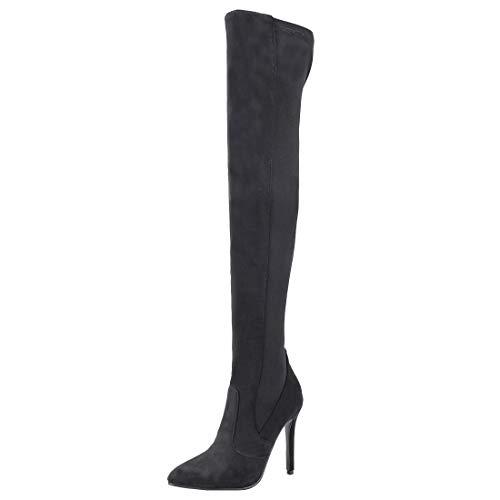 YE Damen Thigh High Boots Sexy Overknee High Heels Stiefel mit Spitze Stiletto Boots zum Schlüpfen Winterstiefel Schuhe(Schwarz,34)