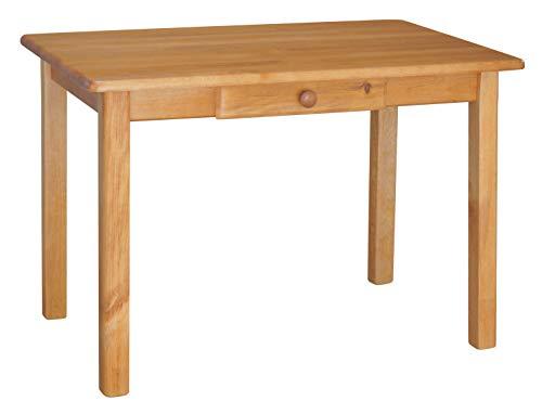 koma Esstisch mit Schublade Küchentisch Speisetisch Tisch Kiefer massiv Restaurant Erle (120, 80) -