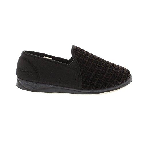 Padders Albert, Herren Sneakers, knöchelfrei Hausschuhe Black Check Wool Mix/Suede
