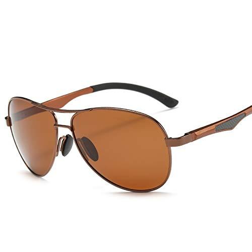 LKVNHP 148Mm Herren Polarisierte Sonnenbrille Übergroße Aviation Sonnenbrille Für Mann Fahren Uv400 Blendschutzbrille Qualität FallBraune Linse