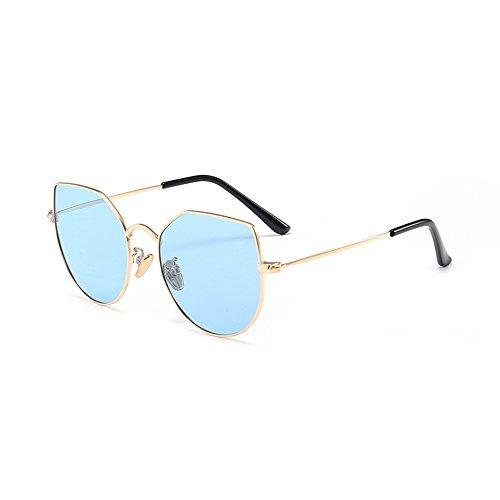 Yiph-Sunglass Sonnenbrillen Mode Cat Eyes Kids Polarized Sonnenbrillen Full Metal umrahmt mit Box Colored Lens UV-Schutz Jungen und Mädchen im Alter von 3 bis 12 Jahren (Farbe : Blau)