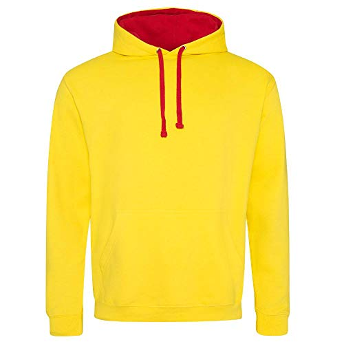 Just Hoods - Unisex Varsity Hoodie - 2-farbiger Kapuzenpullover XXL,Sun Yellow/Fire Red (Sun Fire)