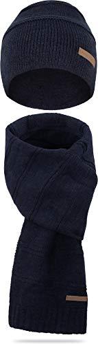 normani Wintermütze bestehend aus Mütze und Schal Farbe Montreal/Blau-meliert