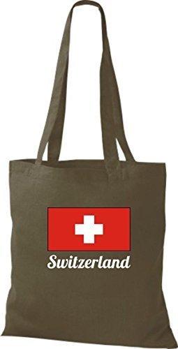 ShirtInStyle Stoffbeutel Baumwolltasche Länderjute Switzerland Schweiz Farbe Pink olive
