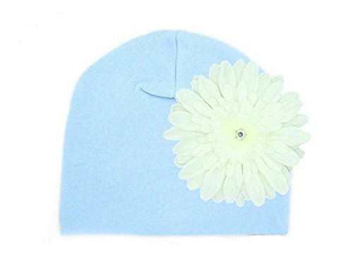 Baby Blue Cotton Hat with White Daisy, Size: 4-6y (Baby-hüte Daisy)