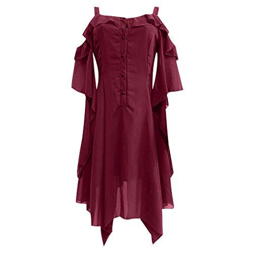 LOPILY Gothic Kleid Damen Große Größen Schulterfreies Chiffonkleid Unregelmäßiges Knielang...