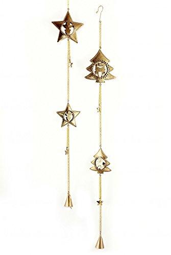 2x Deko Anhänger Tanne Stern im Set je 66 cm lang, Metall Gold zum Hängen, Dekogirlande Dekokette Weihnachtsdeko Winetrdeko Tannenbaum Sternenkette Glöckchen