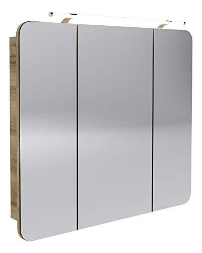 FACKELMANN LED Spiegelschrank Milano/Badschrank mit 3D Effekt/Soft-Close/Maße (B x H x T): ca. 90 x 78 x 15,5 cm/Schrank mit Spiegel & LED-Beleuchtung fürs Bad / 3 Türen/Korpus: Braun hell