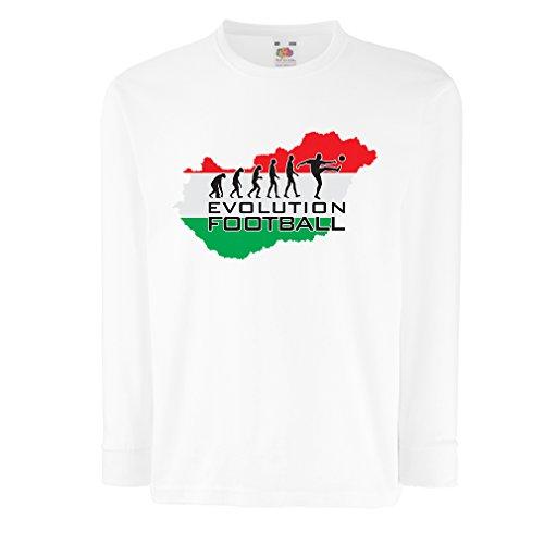 Kinder-T-Shirt mit Langen Ärmeln The Hungary National Football Team Evolution (7-8 Years Weiß Mehrfarben) -