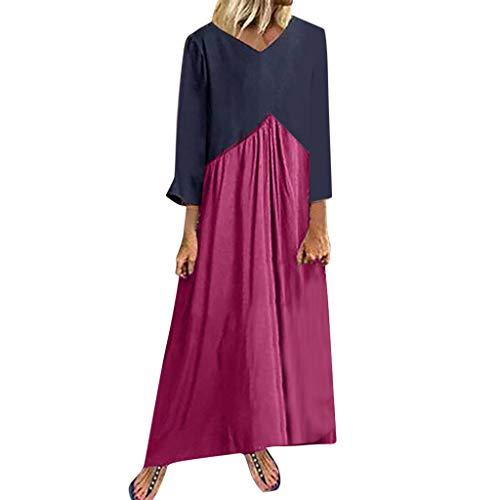 TPulling Frauen Retro Sommerkleid Ärmellos Sling Dress  Kurzärmeliges Retro-Kleid aus Baumwolle und Leinen im Ethno-Stil (Pink, XXL) -