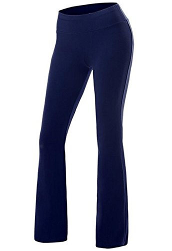CROSS1946 Damen Yoga Lange Stretch Lagenlook Schlaghose Hose Blau Medium