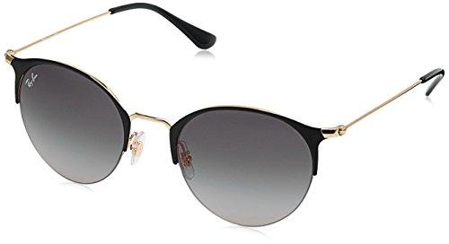 Ray-Ban Rayban Unisex-Erwachsene Sonnenbrille 3578 Gold Top Shiny Black/Lightgreygradientdarkgrey 50