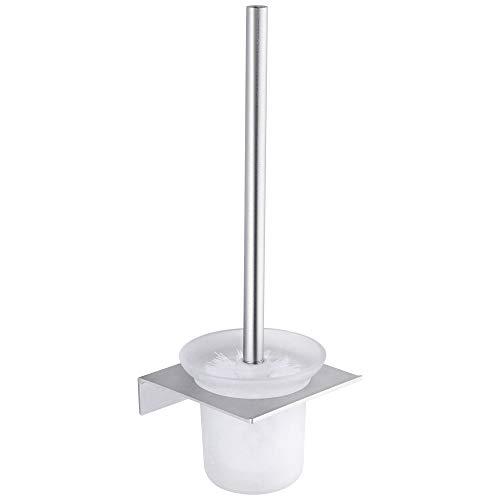 Hoomtaook porta scopino per wc contenitore per spazzole da bagno senza chiodi, senza danni, nastro biadesivo, alluminio, anti ruggine montatura a muro