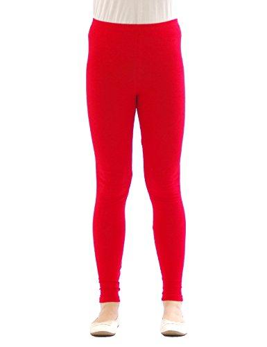 (Kinder Mädchen Leggings lang blickdicht aus Baumwolle Hose Jungen Rot 104)