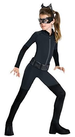 Mädchen Catwoman Batman Catsuit Schwarze Katze Einbrecher Halloween Film Kostüm Kleid Outfit 3-13 jahre - Schwarz, 12-13 (Kinder Catwoman-kostüm)