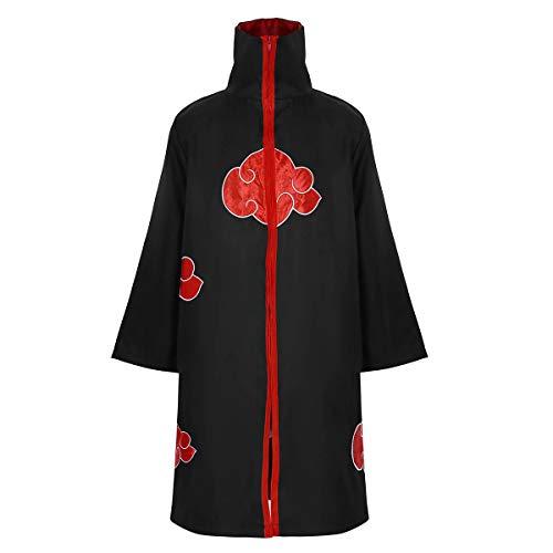 dPois Unisex Cosplay Kostüm Japanische Anime Ninja Umhang Uniform Langarm Mantel mit roten Wolken Erwachsene Kostüm für Halloween Party Gr. S-XXL Schwarz XL (Akatsuki Pein Kostüm)