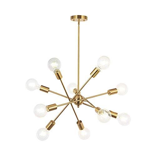 ZY * Moderne Sputnik Kronleuchter, 10 Lichter verstellbare antike Mitte Jahrhundert gebürstetem Messing Anhänger Beleuchtung für Foyer Wohnzimmer Küche Schlafzimmer Beleuchtung Deckenleuchte -