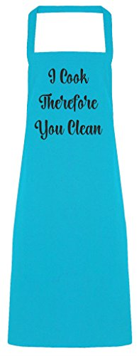 I Cook, You Clean Kitchen Rules Cheeky grembiule da cucina, Poliestere, Turquoise, Adult (One Size)