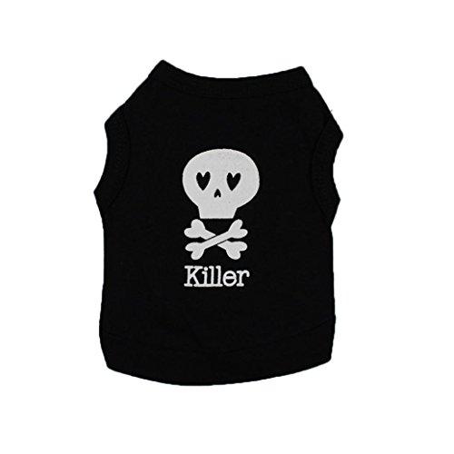 Artistic9 TM-kleine Hunde Kleidung Cotton T-Shirt Welpe mit Totenkopf Killer (Kleidungsstück Pet)