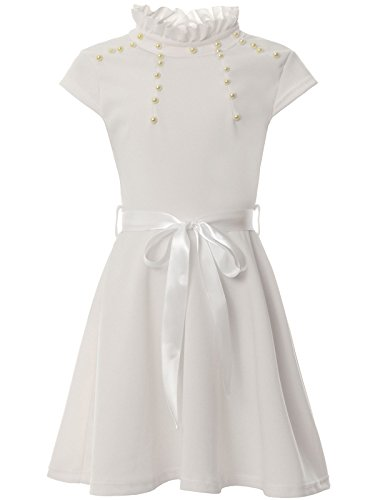 er Kleid Schleife Rüschen Steh-Kragen Kunst-Perlen Gürtel 22289, Farbe:Weiß, Größe:128 (Weißes Kleid Mädchen, Größe 8)