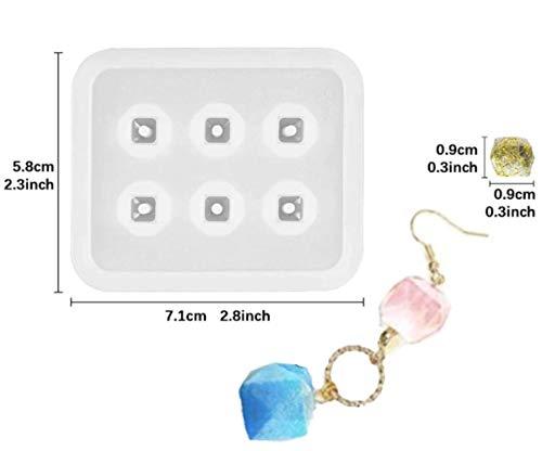 1pc Transparent 6 Sechseck, Quadrat, Facettierte Diamant-Silikon-der Perlen-Herstellung von Schimmel-Fach Edelstein Frame-Einstellung Für Epoxid-Uv-Harz Schimmel Soap-Polymer -