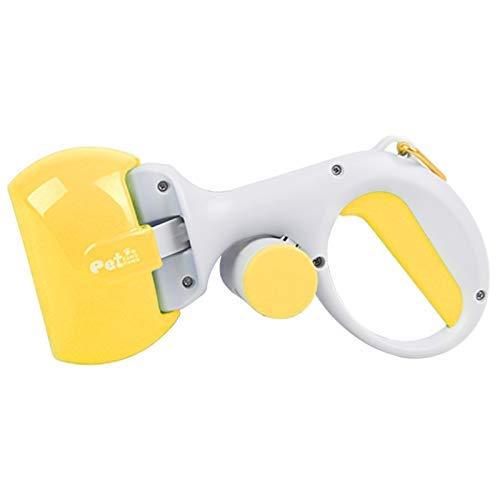 BDFA Perro Pooper Scooper, Cuchara de Caca de Perro pequeño portátil con dispensador de Bolsa de desechos,Yellow