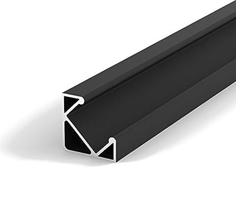 SET: LED Profil, 100cm Profil LED 45° für LED Streifen, aluminium led profil LT3 + Abdeckung (Schwarz,
