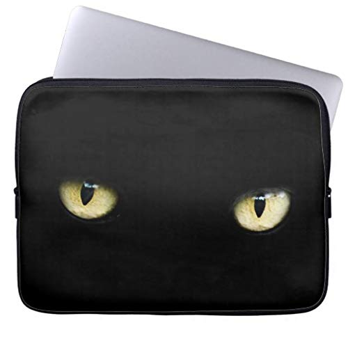 Halloween Black Cat Eyes Laptop MacBook Sleeve Trendy Laptop Sleeve Computer Case 17 17.3 Inch Gifts for Women Water Proof Netbook Case