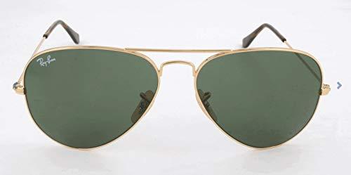 Ray Ban Unisex Sonnenbrille RB3025, Gr. X-Large (Herstellergröße: 62), Grün (Gestell: Gold, Gläser: Grün Klassisch 181)