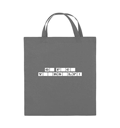 Comedy Bags - GO FUCK YOURSELF! - GLÜCKSRAD - Jutebeutel - kurze Henkel - 38x42cm - Farbe: Schwarz / Pink Dunkelgrau / Weiss