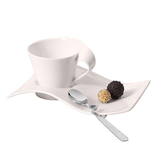 Villeroy & Boch NewWave Caffè Espresso-Set, 3-teilig, Premium Porzellan, Weiß