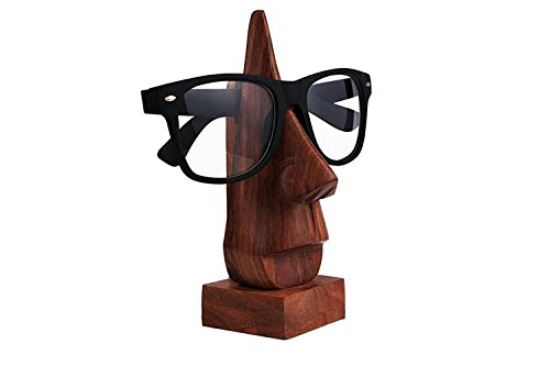 PMK Vatertags Geschenk Klassische Hand geschnitzte Sheesham Holz-Nasen-geformter Brille Brillenhalter, (Nase Weiße Katze)