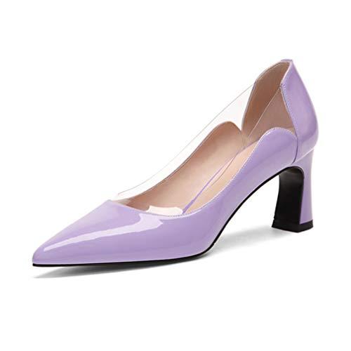 t hohem Absatz, Sexy mit hohen Absätzen, Lackleder mit dickem, 2,5-Zoll-Durchmesser,Purple,39 ()