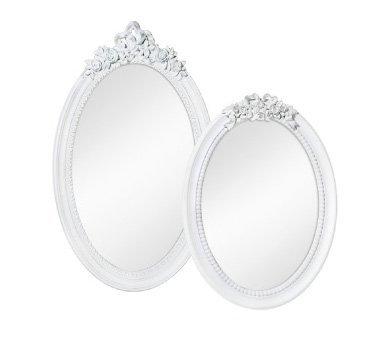 Specchiera ovale di legno bianca con fregio centrale legno stile vintage L'ARTE DI NACCHI AD-120