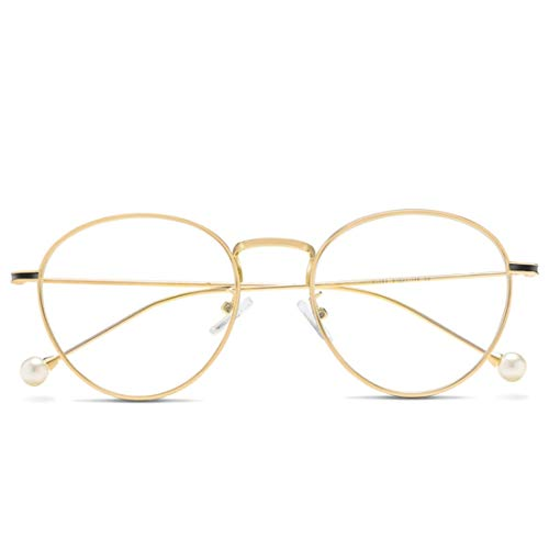 Jiuyizhe Anti Blue Light Glasses Fashion Pearl Temple Glasses für Frauen (Color : Gold)