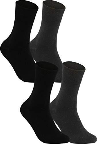 Vitasox 11120 Damen Socken Damensocken Baumwolle Gesundheitssocken extra weiter Schaft ohne Naht ohne Gummi 4 Paar Schwarz Anthrazit 39/42