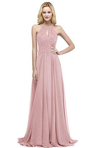 MisShow Robe de Soirée Longue pour Mariage Vintage Femme Robe de Gala Longue Robe de Cocktail Jeune Fille Chic Elégante Rose 42