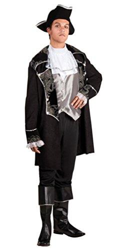 Karneval Klamotten Piraten-Kostüm Herren Kostüm Pirat Kapitän Komplett-Kostüm schwarz-silber inkl. Piraten-Mantel + Piraten-Hut Abenteuer Herrenkostüm Größe 54/56 (Silber Stulpen Kostüm)