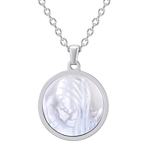 FaithHeart Santa María Medalla Colgante Redondo de Acero Inoxidable Plata con Cadena Fina Delgada Familia Amigos