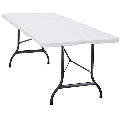 Deuba Gartentisch Buffettisch klappbar 183x76 cm mit Tragegriff Kunststoff für 6 Personen Klapptisch Campingtisch Weiß