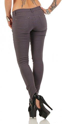 Damen Jeans Hose Straight Leg Jegging Skinny (436) Grau