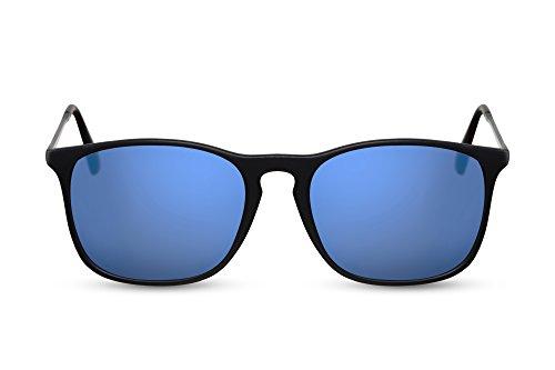 Cheapass Sonnenbrille Schwarz-e Blau Verspiegelt UV-400 Festival-Brille Metall Damen Herren