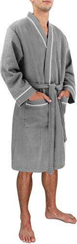 Morgenmantel für Herren aus Baumwolle mit Waffeloptik Farbe Grau Größe 4XL