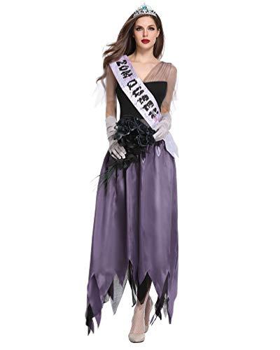 LvRaoo Halloween Kostüm Damen Zombie Braut Leiche Vampir Kleid für Karneval Fasching (Violett, Asien L)