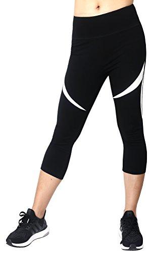 Neonysweets Legging Sport Femme Actif Collant Yoga Danse Course Noir Taille Normale Noir