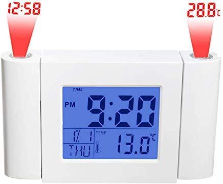 JNS Factory Direct Digitaluhr mit 2 Projektoren mit Zeit, Temperatur, Datum, Woche, Monatsanzeige. Schlummerfunktion 2 Factory Radio