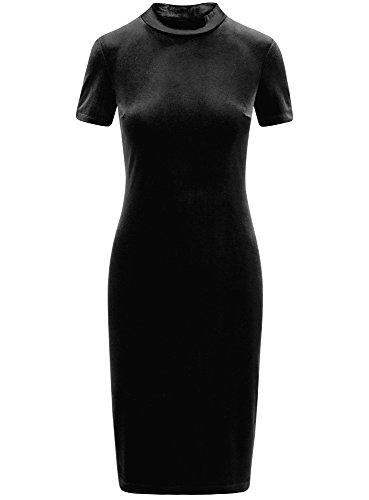 oodji Ultra Damen Enges Samt-Kleid Schwarz (2900N)