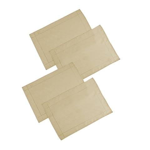 Signature Tischsets / Platzsets, Leinenoptik, 4 Stück 13in x 18in(33cm x 46cm) Latte (Schwarz Premier Tischdecken)