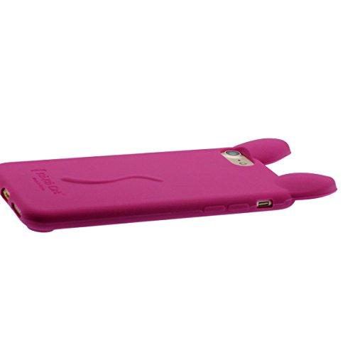 """Apple iPhone 7 Coque, iPhone 7 4.7"""" Silicone Case étui de Protection, Élégant Mode 3D Mignon Chat Serie, Souple Élastique Fine Poids léger Couleur vive Belle Apparence Amarante"""